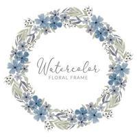 cornice corona floreale acquerello petalo blu vettore