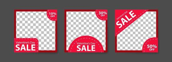 modelli di post sui social media per il marketing digitale e la promozione delle vendite il giorno di San Valentino. pubblicità di moda. offrire banner sui social media. illustrazione di mockup cornice foto vettoriale