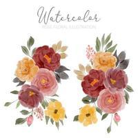 insieme dell'illustrazione di disposizione dei fiori della rosa dell'acquerello vettore