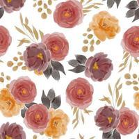 modello senza saldatura con composizione floreale rosa acquerello vettore
