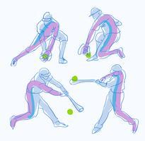 Illustrazione disegnata a mano di vettore di schizzo astratto di posa del giocatore di baseball
