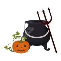 zucca di Halloween con viso e calderone