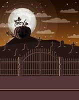 icona della scena notturna del cimitero scuro vettore