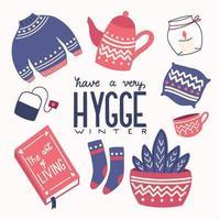 concetto di hygge con scritte a mano colorate e illustrazione. motivi popolari scandinavi. vettore
