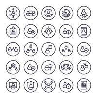 set di icone della linea di gestione delle risorse umane e del personale, hr, rotazione del personale, interazione, coaching e assunzione vettore