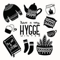concetto di hygge con scritte a mano in bianco e nero e illustrazione. motivi popolari scandinavi. vettore
