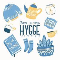 concetto di hygge con scritte a mano colorate e illustrazione. motivi popolari scandinavi. atmosfera accogliente a casa. illustrazione vettoriale piatta.