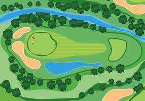 Illustrazione del campo da golf di vista sopraelevata vettore