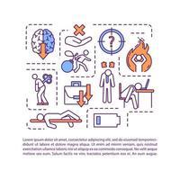 assenza di icona del concetto di motivazione con testo. ansia, bassa energia. produttività ridotta. modello di vettore di pagina ppt. brochure, rivista, elemento di design opuscolo con illustrazioni lineari