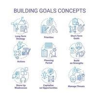 set di icone di concetto di obiettivi di costruzione. fissando l'obiettivo da raggiungere. strategie swot.