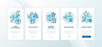 evitare il burnout durante l'onboarding della schermata della pagina dell'app mobile con concetti.