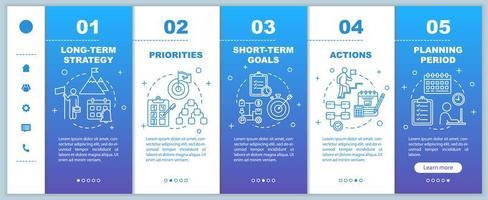 strategia per il modello di vettore di onboarding aziendale. priorità e azioni. periodo di pianificazione.