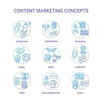 set di icone di concetto di content marketing.