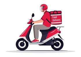 illustrazione di vettore di colore rgb semi piatto consegna cibo urbano