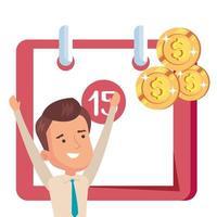 promemoria del calendario con uomo d'affari e monete