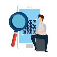 uomo e dispositivo smartphone con codice di scansione qr