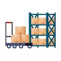 scaffalatura metallica di magazzino con scatole e carriola