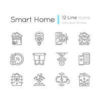 set di icone lineare casa intelligente vettore