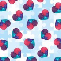 sfondo cuori di puzzle pezzi icona vettore