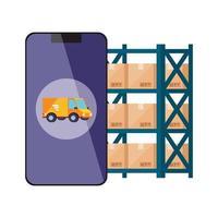smartphone con app di servizio logistico