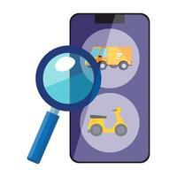 smartphone con app di servizio logistico e lente di ingrandimento