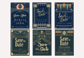 Salvare il vettore di stile Art Deco Data