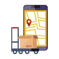 smartphone con app e scatola di localizzazione della mappa