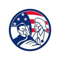 infermiera che si prende cura del cerchio della bandiera americana del paziente covid-19