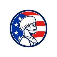 infermiera americana che indossa la maschera laterale bandiera degli Stati Uniti mascotte