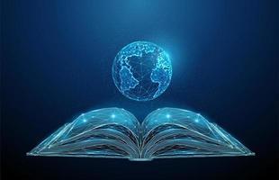 libro aperto astratto low poly con pianeta terra.
