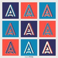 Vector Letter A tipografia in stili geometrici linea retrò