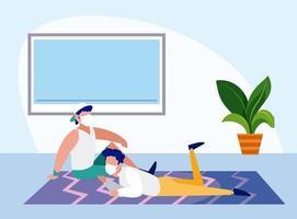uomini con maschere di relax a casa disegno vettoriale