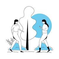 gruppo di donne avatar carattere icone