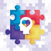 set di pezzi di un puzzle e profilo della testa con il cuore