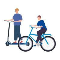 giovani uomini con personaggio avatar scooter e bici