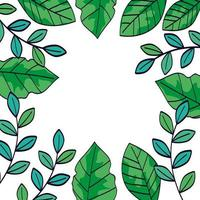 cornice di rami con foglie naturali