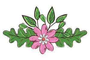 carino fiore rosa con ramo e foglie icona isolato