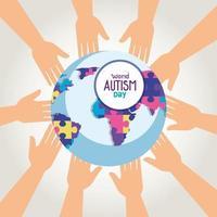 giornata mondiale dell'autismo e pianeta mondiale con le mani