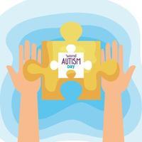 giornata mondiale dell'autismo con le mani e il pezzo del puzzle