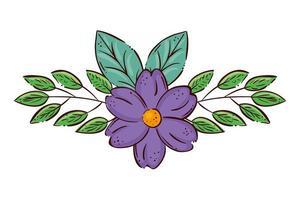 simpatico fiore viola con rami e foglie