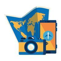 mappa cartacea con smartphone e fotografia con fotocamera