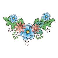 simpatici fiori con decorazioni di rami e foglie