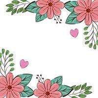 cornice di fiori di colore rosa con foglie e cuori