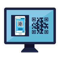 codice qr all'interno del disegno vettoriale di computer e smartphone