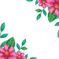 cornice di fiori di colore rosa con foglie naturali