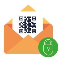 codice qr all'interno di busta e disegno vettoriale lucchetto