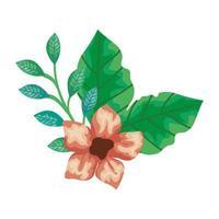 fiori carini con rami e foglie icona isolato vettore