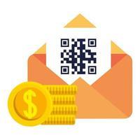codice qr all'interno di buste e monete disegno vettoriale