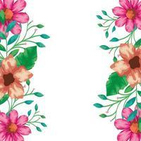 cornice di fiori con rami e foglie