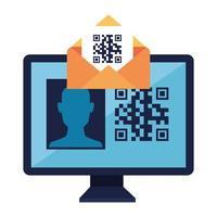 codice qr all'interno della busta e disegno vettoriale del computer